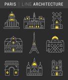 Set Vector Flat Line Icons Paris Architecture Stock Photo