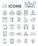 Set Vector Flat Line Icons Paris Stock Photography