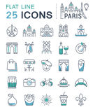 Set Vector Flat Line Icons Paris Royalty Free Stock Image