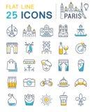 Set Vector Flat Line Icons Paris Stock Images