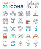 Set Vector Flat Line Icons Paris and France. Set  line icons in flat design Paris, France and tourism with elements for mobile concepts and web apps. Collection Royalty Free Stock Images