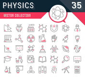 Set Vector Flat Line Icons Physic. Set vector line icons, sign and symbols in flat design physic with elements for mobile concepts and web apps. Collection Royalty Free Stock Images