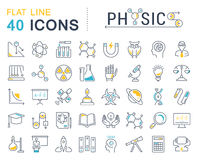 Set Vector Flat Line Icons Physic Royalty Free Stock Photography