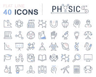 Set Vector Flat Line Icons Physic Stock Photos