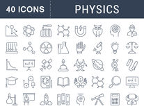 Set Vector Flat Line Icons Physic Stock Photography
