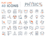 Set Vector Flat Line Icons Physic Stock Images