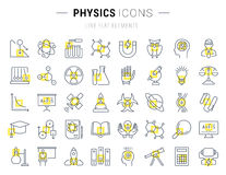 Set Vector Flat Line Icons Physic Royalty Free Stock Images