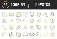 Set Vector Flat Line Icons Physic Stock Photo