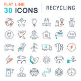 Set Vector Flat Line Icons Recycling. Set  line icons in flat design recycling, eco, bio, clean energy, save water and world with elements for mobile concepts Stock Images