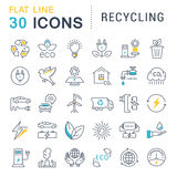 Set Vector Flat Line Icons Recycling. Set  line icons in flat design recycling, eco, bio, clean energy, save water and world with elements for mobile concepts Royalty Free Stock Photography