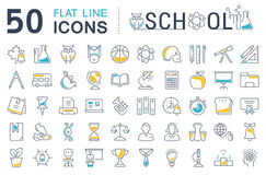 Set Vector Flat Line Icons School Royalty Free Stock Photos