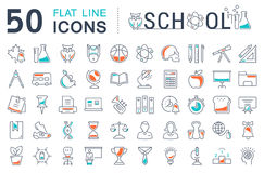 Set Vector Flat Line Icons School Stock Images