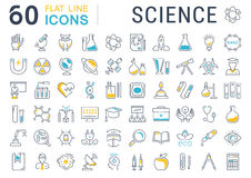 Set Vector Flat Line Icons Science Stock Photos