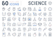 Set Vector Flat Line Icons Science Stock Photo