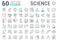 Set Vector Flat Line Icons Science Royalty Free Stock Photo