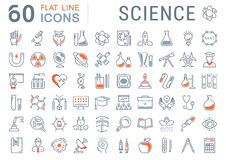 Set Vector Flat Line Icons Science Stock Image