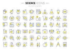 Set Vector Flat Line Icons Science Royalty Free Stock Images