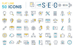 Set Vector Flat Line Icons SEO Royalty Free Stock Image