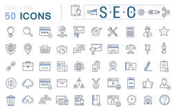 Set Vector Flat Line Icons SEO Stock Images