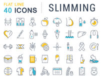 Set Vector Flat Line Icons Slimming Royalty Free Stock Photography