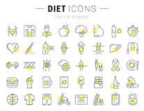 Set Vector Flat Line Icons Slimming Royalty Free Stock Images