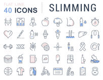 Set Vector Flat Line Icons Slimming Stock Images