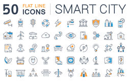 Set Vector Flat Line Icons Smart City Stock Image