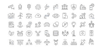 Set Vector Flat Line Icons Smart City Royalty Free Stock Image