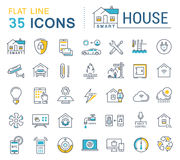Set Vector Flat Line Icons Smart House Royalty Free Stock Images