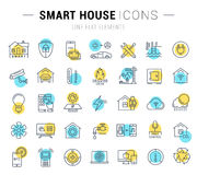 Set Vector Flat Line Icons Smart House Royalty Free Stock Photography