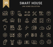 Set Vector Flat Line Icons Smart House Stock Image