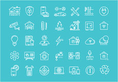 Set Vector Flat Line Icons Smart House Royalty Free Stock Image