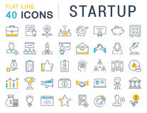 Set Vector Flat Line Icons Startup Stock Photo