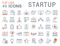 Set Vector Flat Line Icons Startup Stock Images