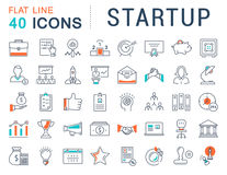 Set Vector Flat Line Icons Startup vector illustration