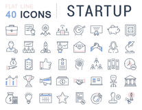 Set Vector Flat Line Icons Startup Royalty Free Stock Image