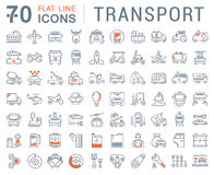 Set Vector Flat Line Icons Transport Stock Photography
