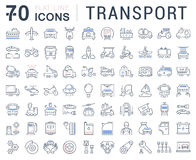 Set Vector Flat Line Icons Transport Stock Image