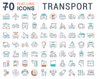 Set Vector Flat Line Icons Transport Stock Photos