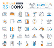 Set Vector Flat Line Icons Travel. Set  line icons in flat design travel, hotel service, resort vacation, tour planning, recreational rest, holiday trips for Royalty Free Stock Image