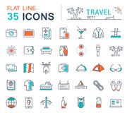 Set Vector Flat Line Icons Travel. Set  line icons in flat design travel, hotel service, resort vacation, tour planning, recreational rest, holiday trips for Stock Image