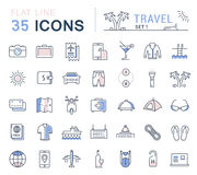 Set Vector Flat Line Icons Travel. Set  line icons in flat design travel, hotel service, resort vacation, tour planning, recreational rest, holiday trips for Royalty Free Stock Images