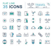 Set Vector Flat Line Icons Travel. Set  line icons in flat design travel, hotel service, resort vacation, tour planning, recreational rest, holiday trips for Royalty Free Stock Photos