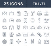 Set Vector Flat Line Icons Travel. Set  line icons  travel, hotel service, resort vacation, tour planning, recreational rest, holiday trip with open path mobile Royalty Free Stock Images