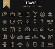 Set Vector Flat Line Icons Travel. Set  line icons travel, hotel service, resort vacation, tour planning, recreational rest, holiday trip with open path mobile Royalty Free Stock Photography