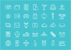 Set Vector Flat Line Icons Travel. Set  line icons travel, hotel service, resort vacation, tour planning, recreational rest, holiday trip with open path mobile Stock Image