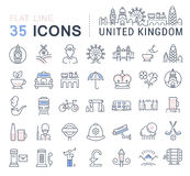 Set Vector Flat Line Icons UK