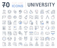 Set Vector Flat Line Icons University Stock Photography