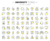 Set Vector Flat Line Icons University Royalty Free Stock Image