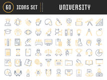 Set Vector Flat Line Icons University Royalty Free Stock Photo